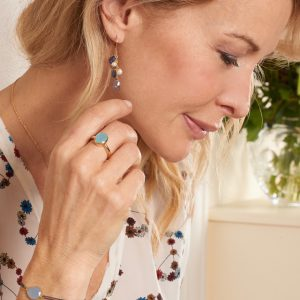Boucles d'oreilles Trianon bleues
